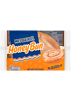 A single-serve package of Mrs Baird's Honey Buns