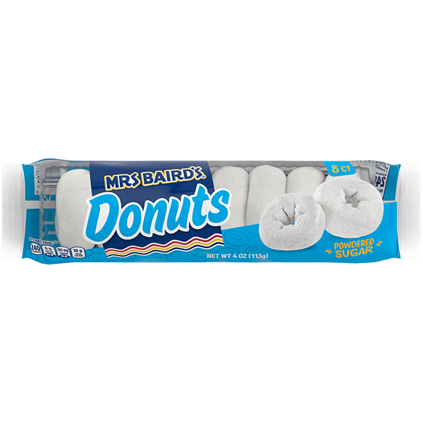 A six-count package of Mrs Baird's Powdered Sugar Donuts