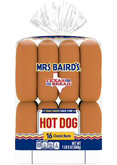 An 16-count bag of Mrs Baird's Hot Dog Buns