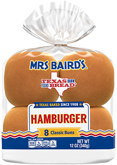An 8-count bag of Mrs Baird's Hamburger Buns