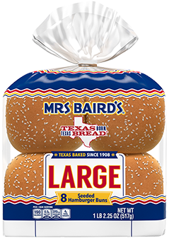 An eight-count package of Mrs Baird's Large Sesame Seed Buns