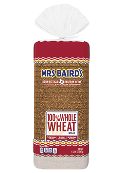 A bag containing a 20-ounce loaf of 100% Whole Wheat Bread