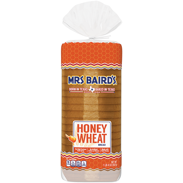 A bag containing a loaf of Mrs Baird's Honey Wheat Bread