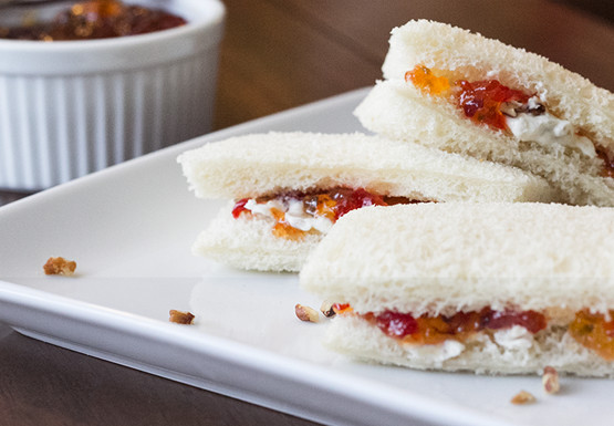 Mrs Baird's four-ingredient Pepper Jelly Pecan Sandwiches served on a white platter