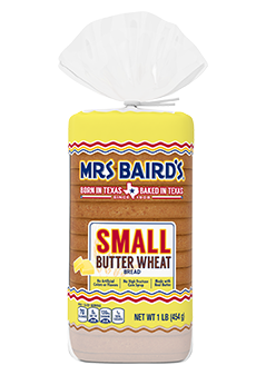 A bag containing a 16-ounce loaf of Small Butter Wheat Bread