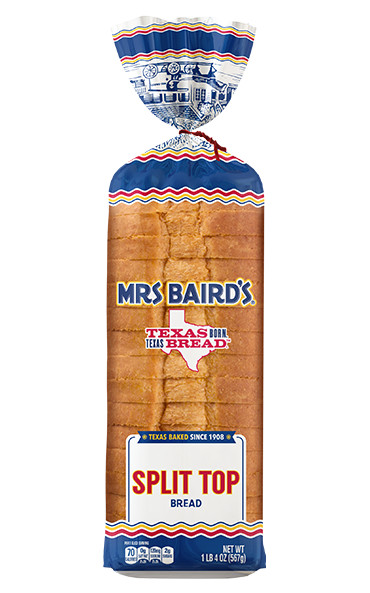 A bag containing a loaf of Mrs Baird's Split Top White Bread