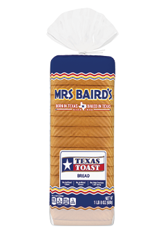 A bag containing a loaf of Mrs Baird's Texas Toast