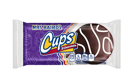A package of Mrs Baird's Chocolate Cupcakes